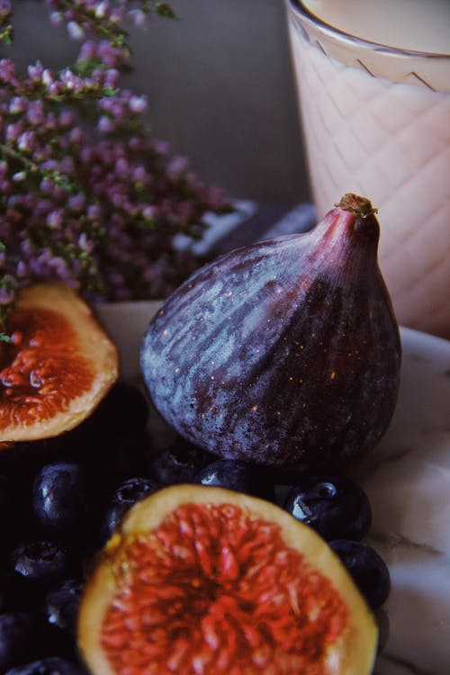 Closeup of delicious figs on plate