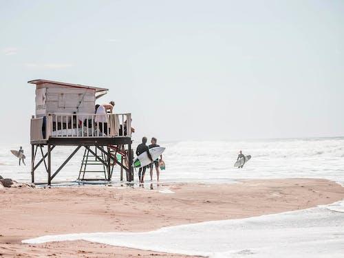 People Sitting on Beach Chairs on Beach