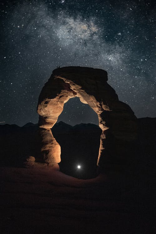 Brown Rock Formation during Night Time