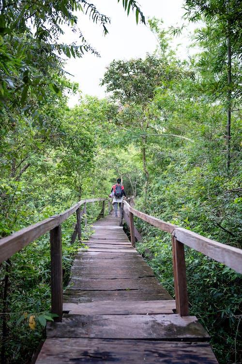 Unrecognizable person walking on footbridge