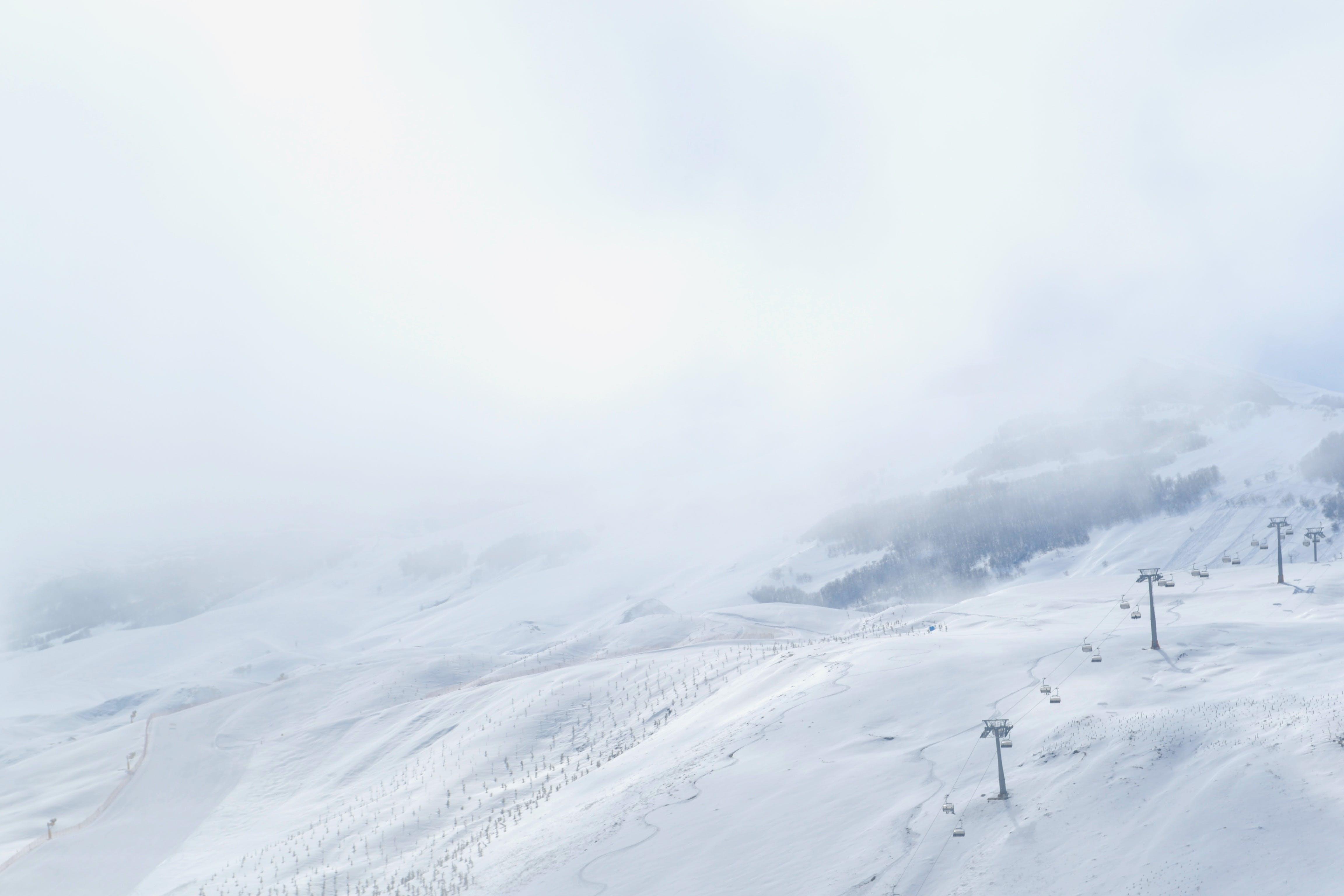 Free stock photo of winter, whitespace, white, ski lift