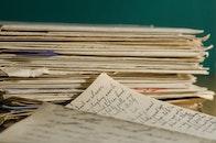 handwritten, blur, stacked