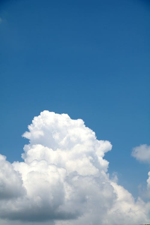 Fluffy clouds on bright blue sky