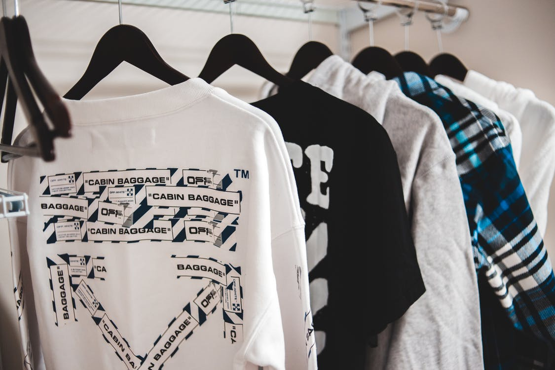 White and Black Crew Neck T-shirt