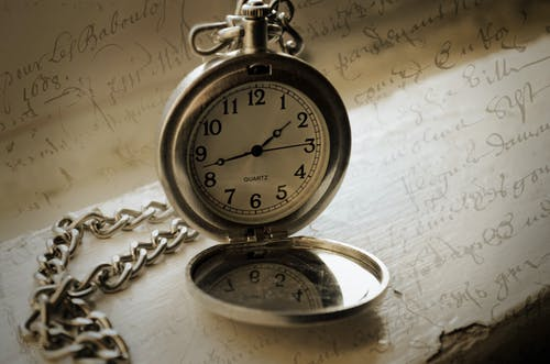 Close-Up Shot of a Silver Pocket Watch