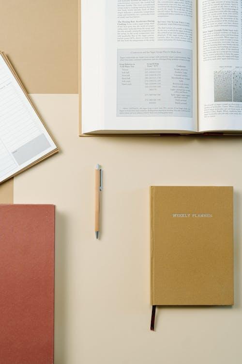 White Printer Paper Beside Brown Folder