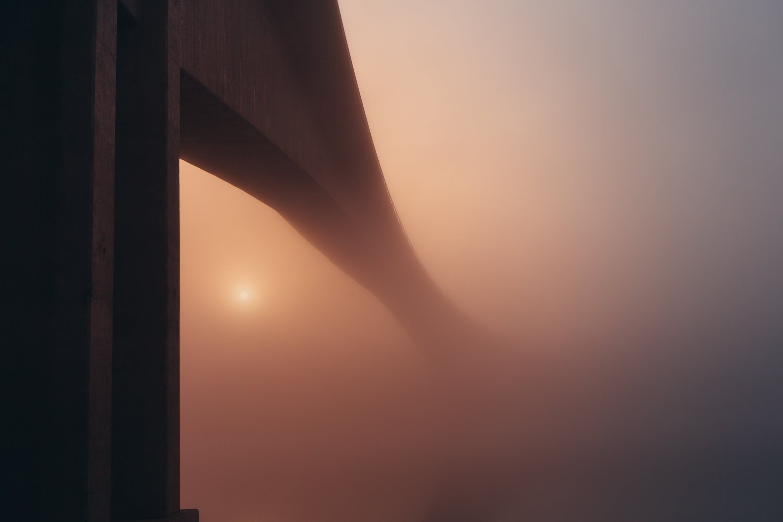 Free stock photo of sun, bridge, fog, mist