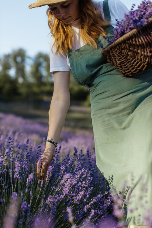 Woman in Green Dress and Brown Scarf Standing on Purple Flower Field