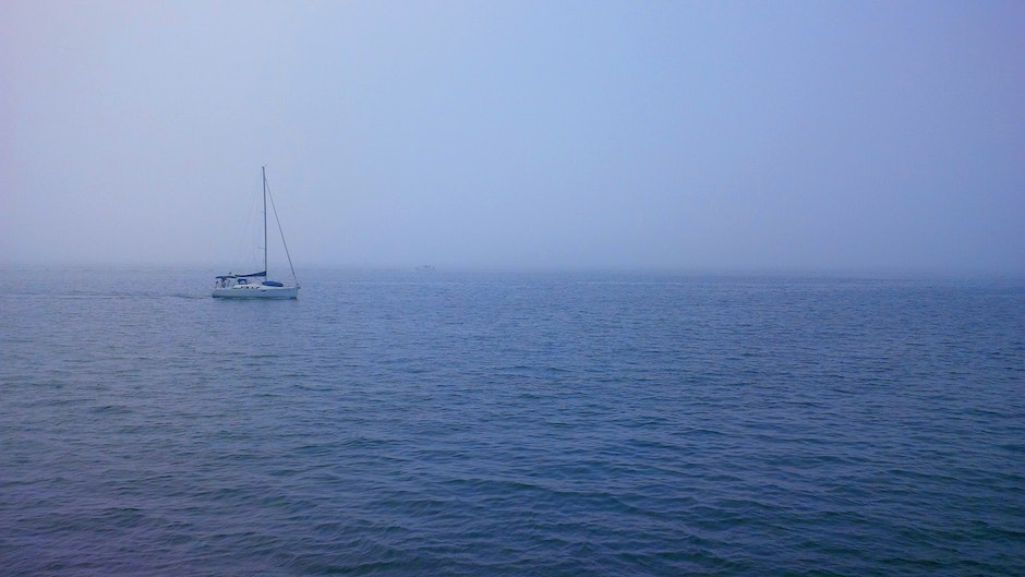 boat, foggy, isolated