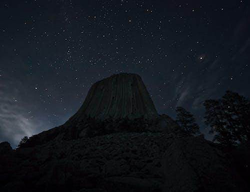 Black Mountain Under Starry Night