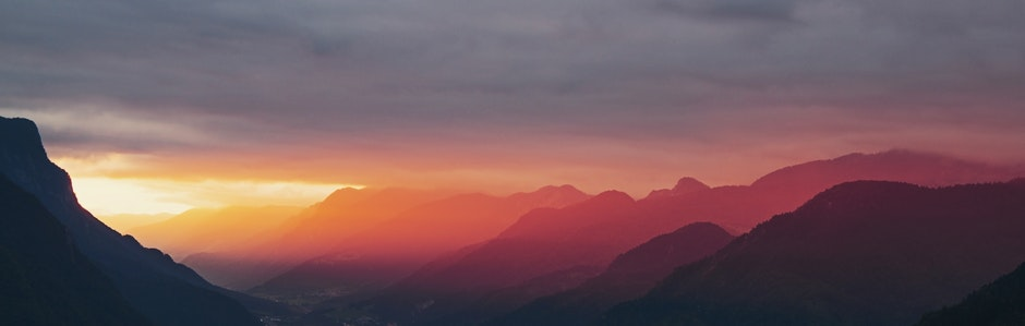 landscape, morning, mountains