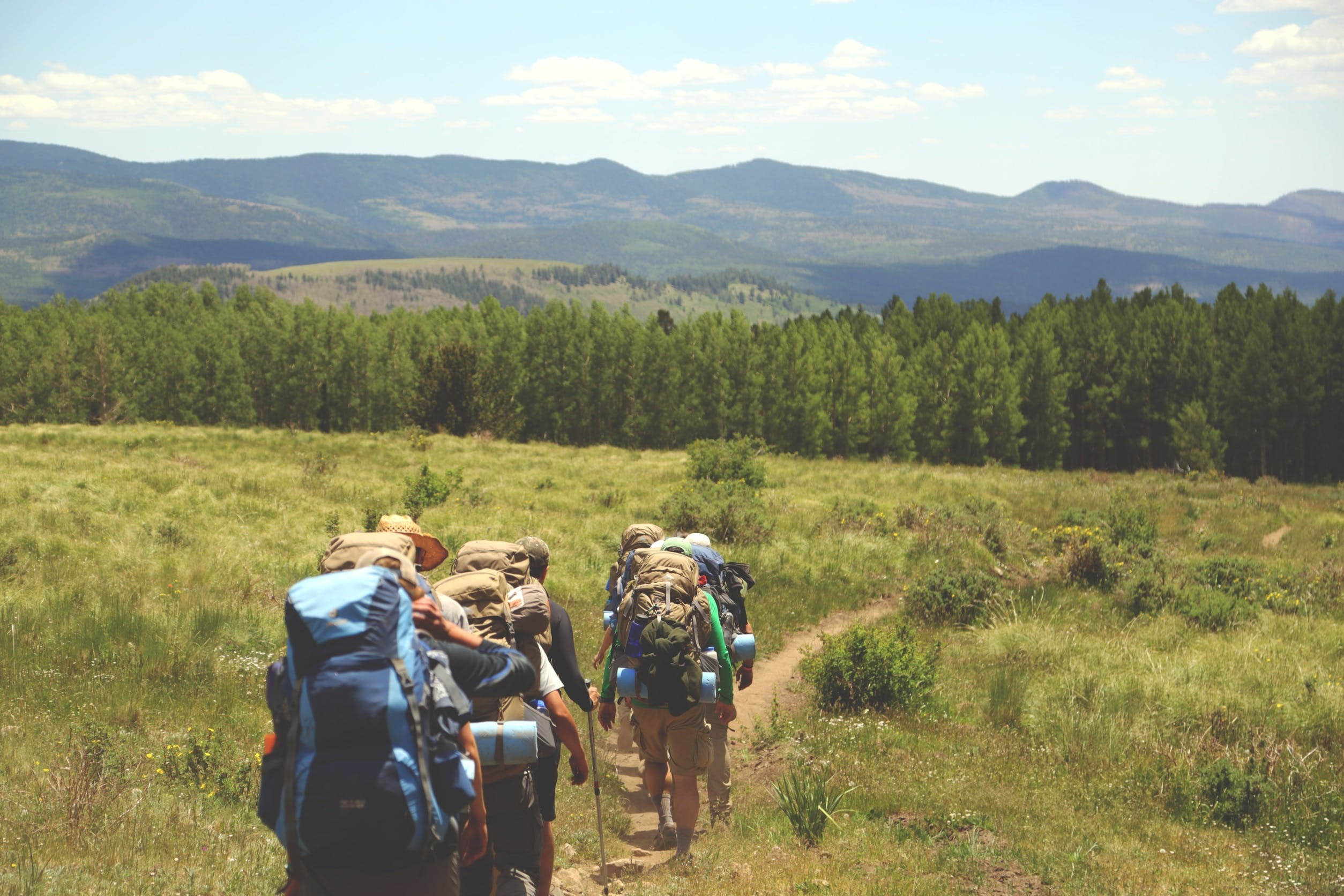Free stock photo of backpacking, backpacks, fields trees, fitness