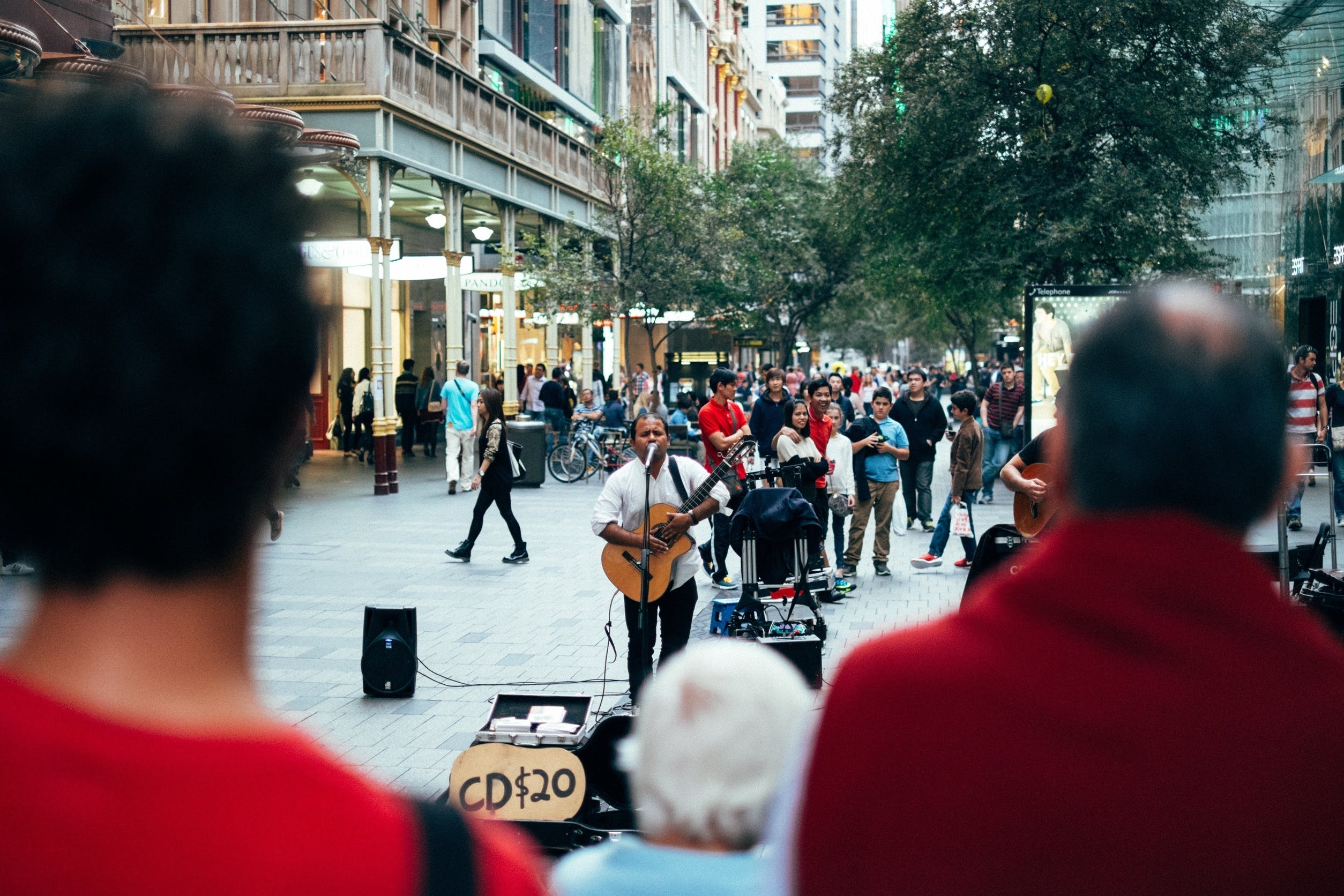 Free stock photo of audience, busker, crowd, guitar