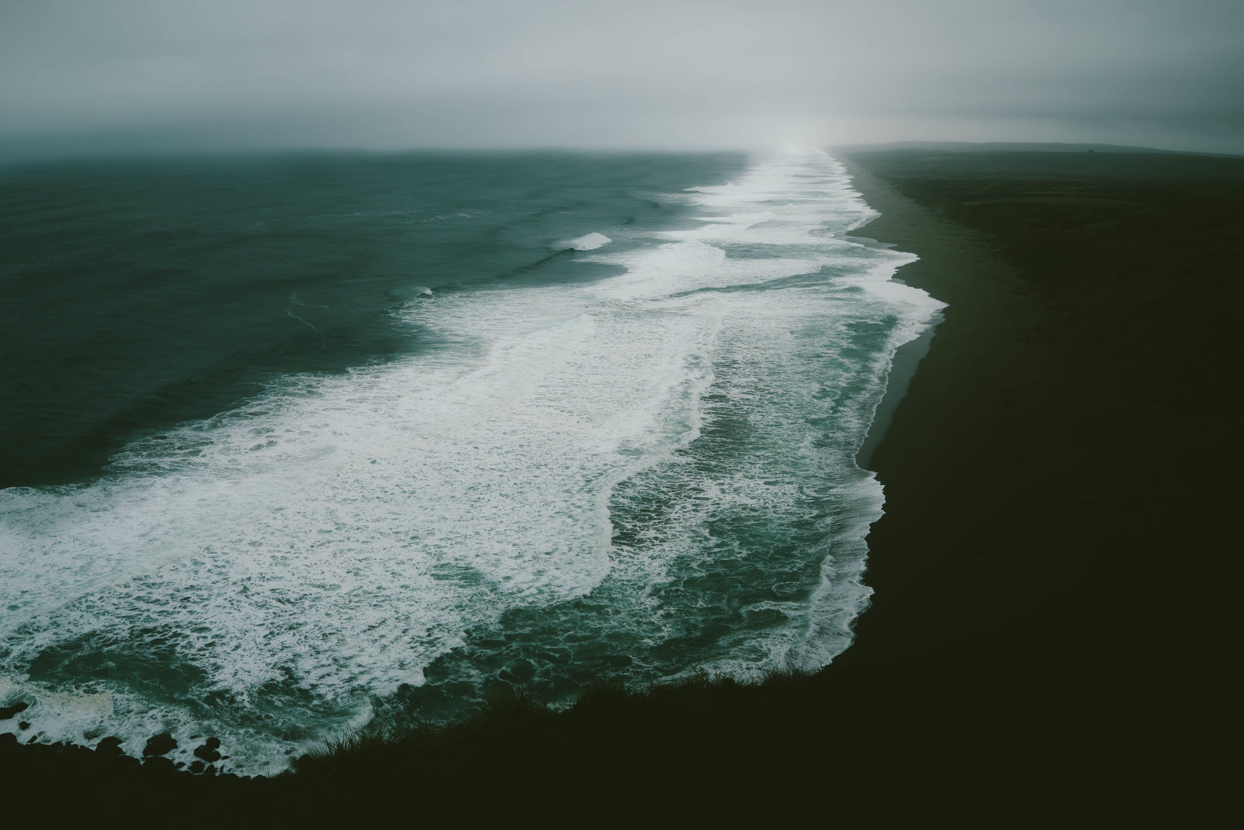 Základová fotografie zdarma na téma letecký snímek, malebný, mávání, moře
