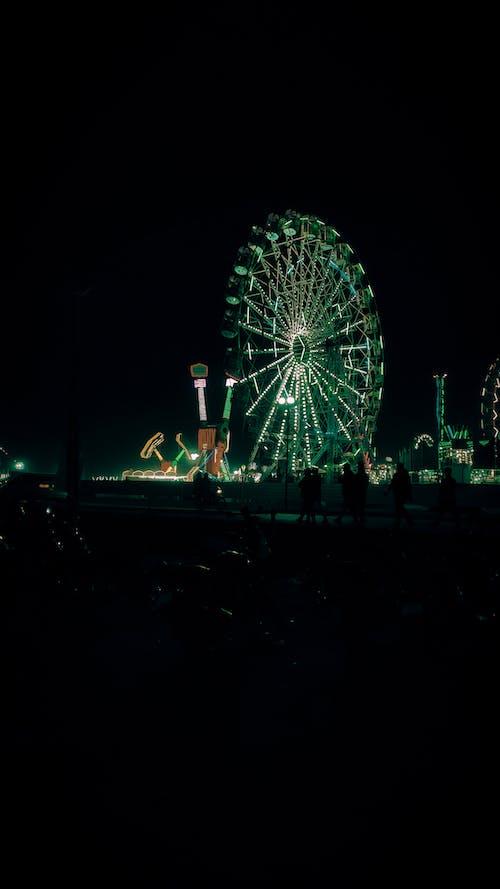 People Standing Near Ferris Wheel during Night Time