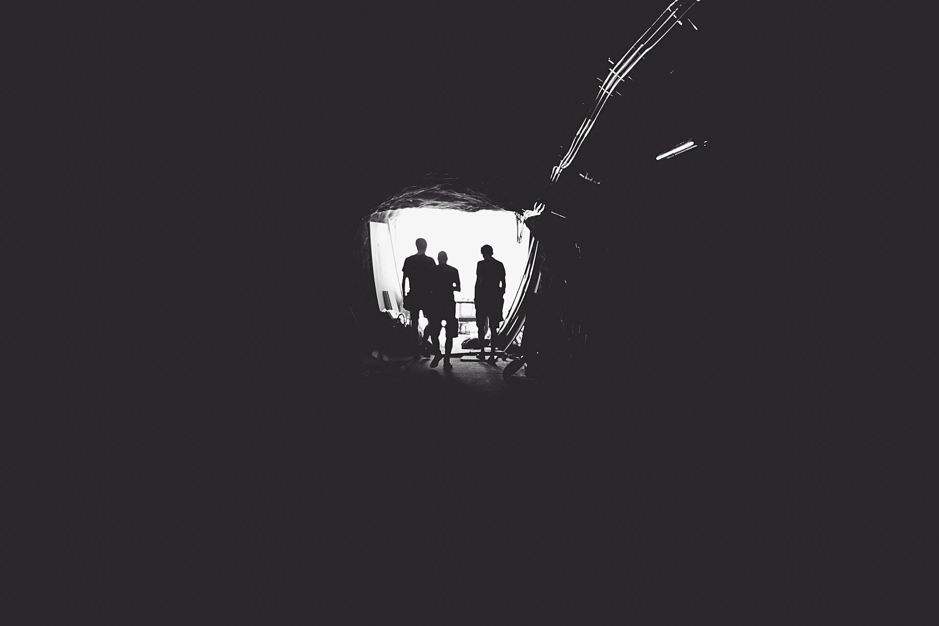 black-and-white, cave, dark