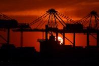 sunset, port, construction