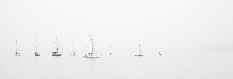 Free stock photo of ocean, boats, sailing, foggy