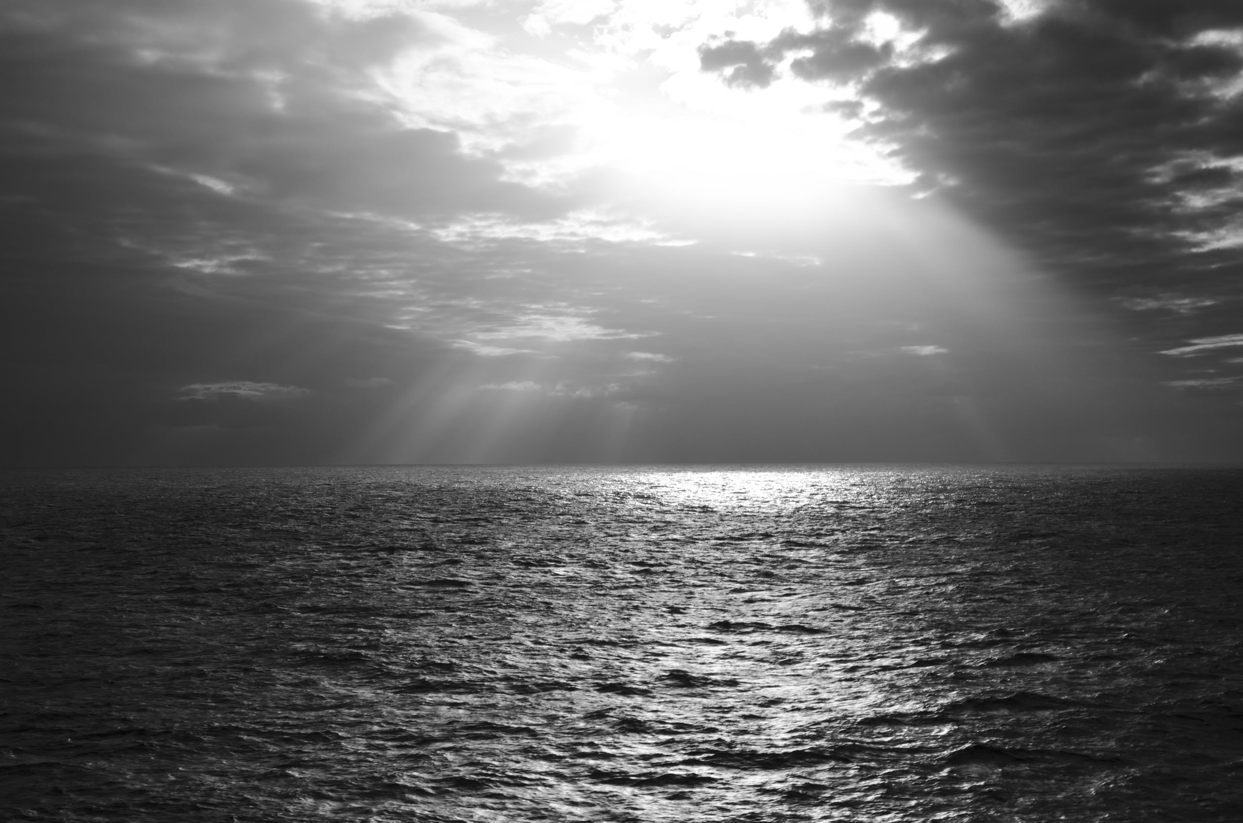 Free stock photo of sea, black-and-white, sky, water