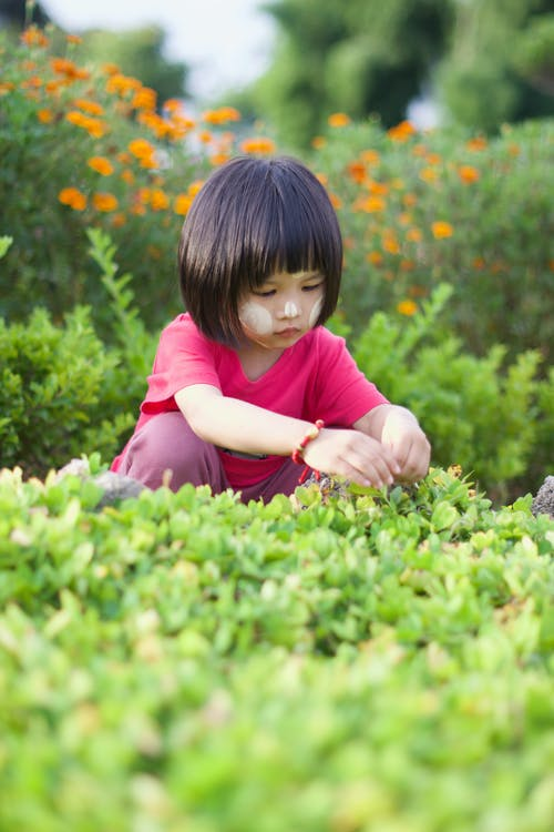 Girl in Pink Shirt on Green Grass Field