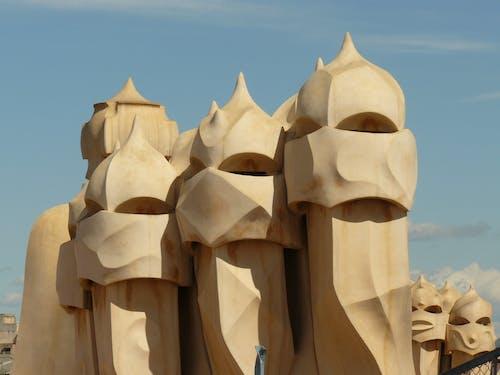 คลังภาพถ่ายฟรี ของ casa mila ของ gaudi, gauda, บาร์เซโลนา, ประติมากรรมทราย