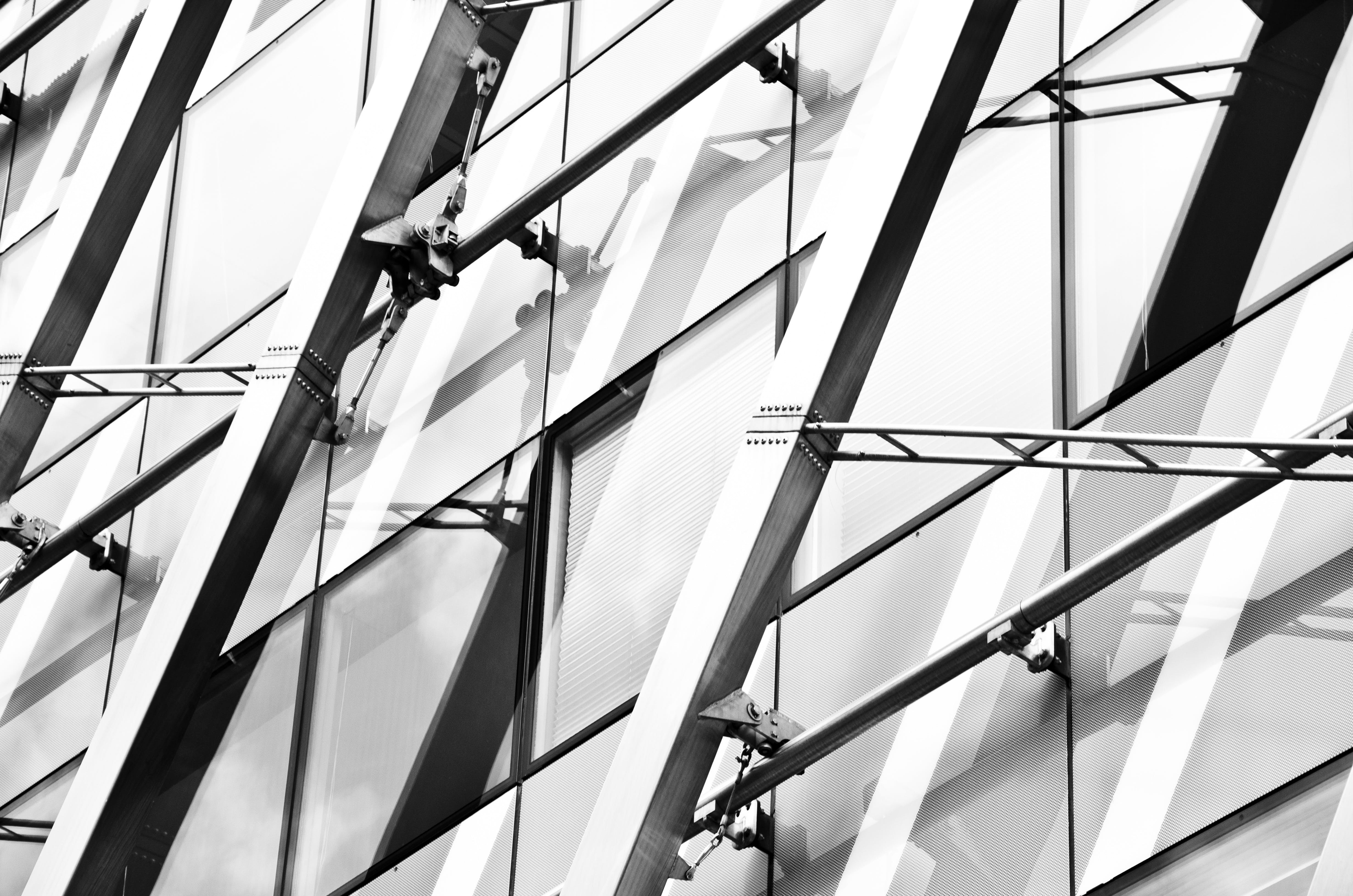 Free stock photo of black-and-white, building, metal, glass