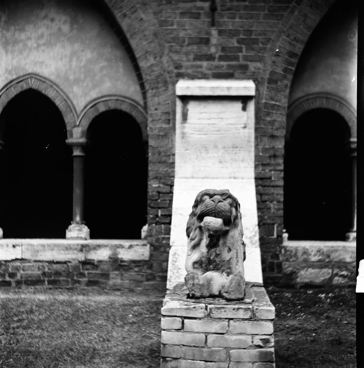 Old stone monument of lion near building