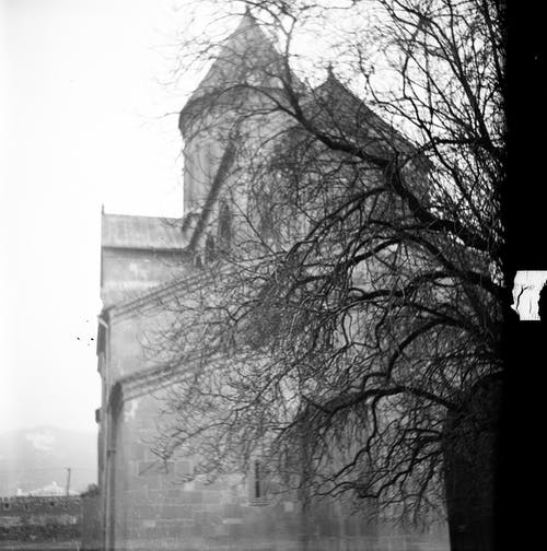 Black and white of aged brick church with domes and narrow windows on surface behind tree twigs