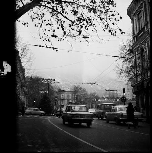 Black and white of city road with old automobiles near classic buildings in overcast weather