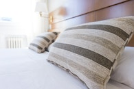 bed, bedroom, pillows