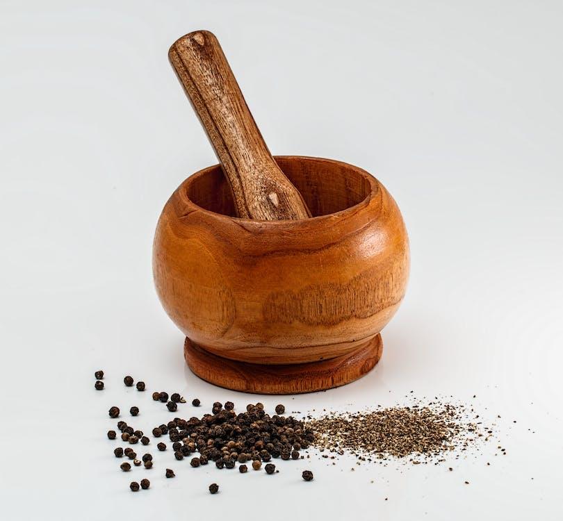 Brown Wooden Mortar Teasle