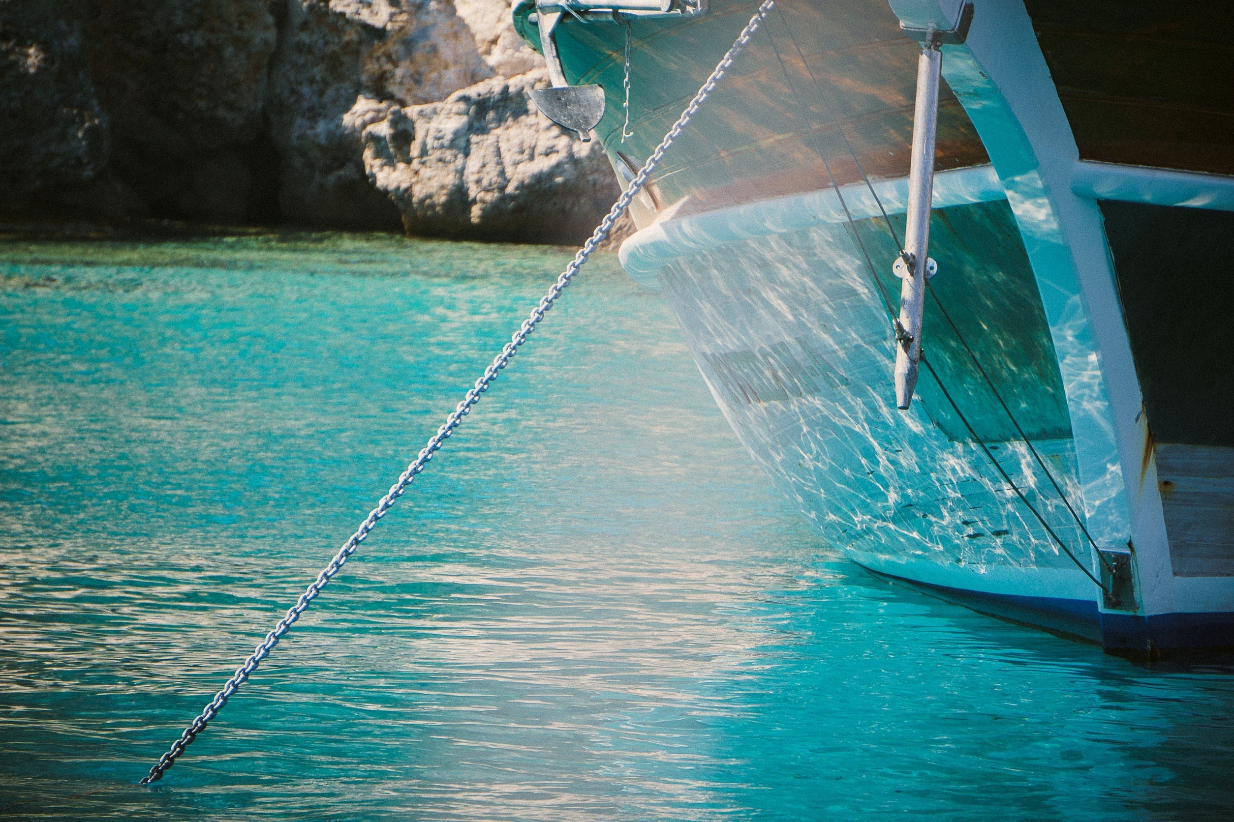 Free stock photo of water, boat, anchor, chain