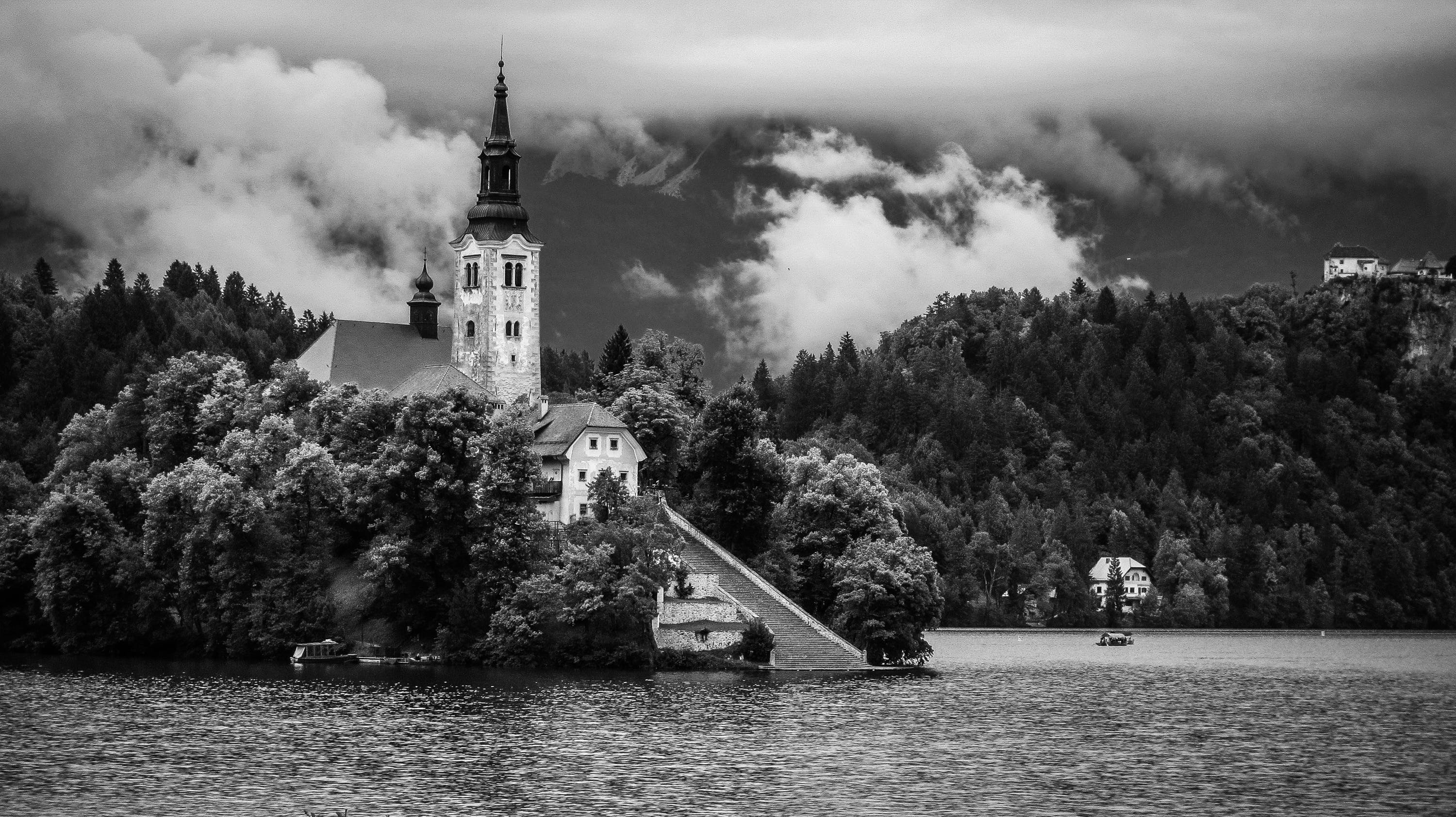 Free stock photo of black-and-white, clouds, building, church