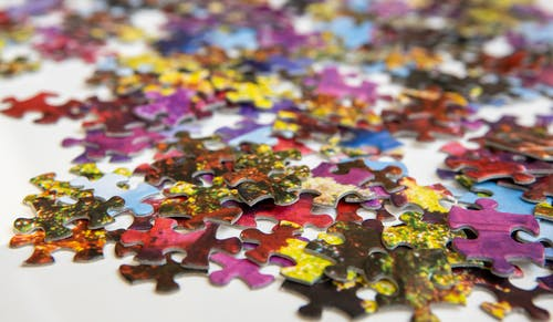 Pink Blue and Yellow Jigsaw Puzzle