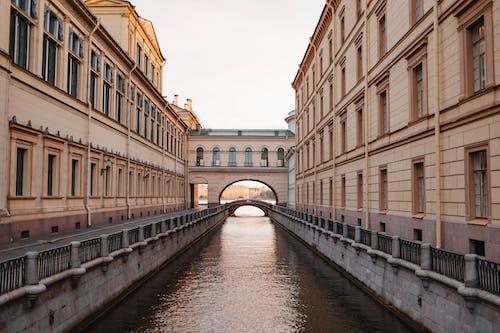River Between Concrete Buildings