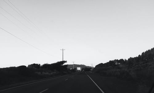 Free stock photo of black and white, evening, oregon, road