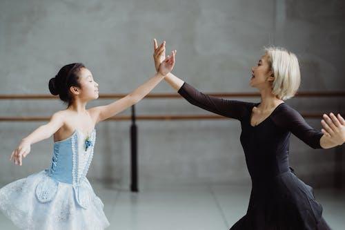 Ballerinas dancing in studio during lesson