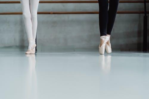 Anonymous ballerinas performing Pointe technique in studio