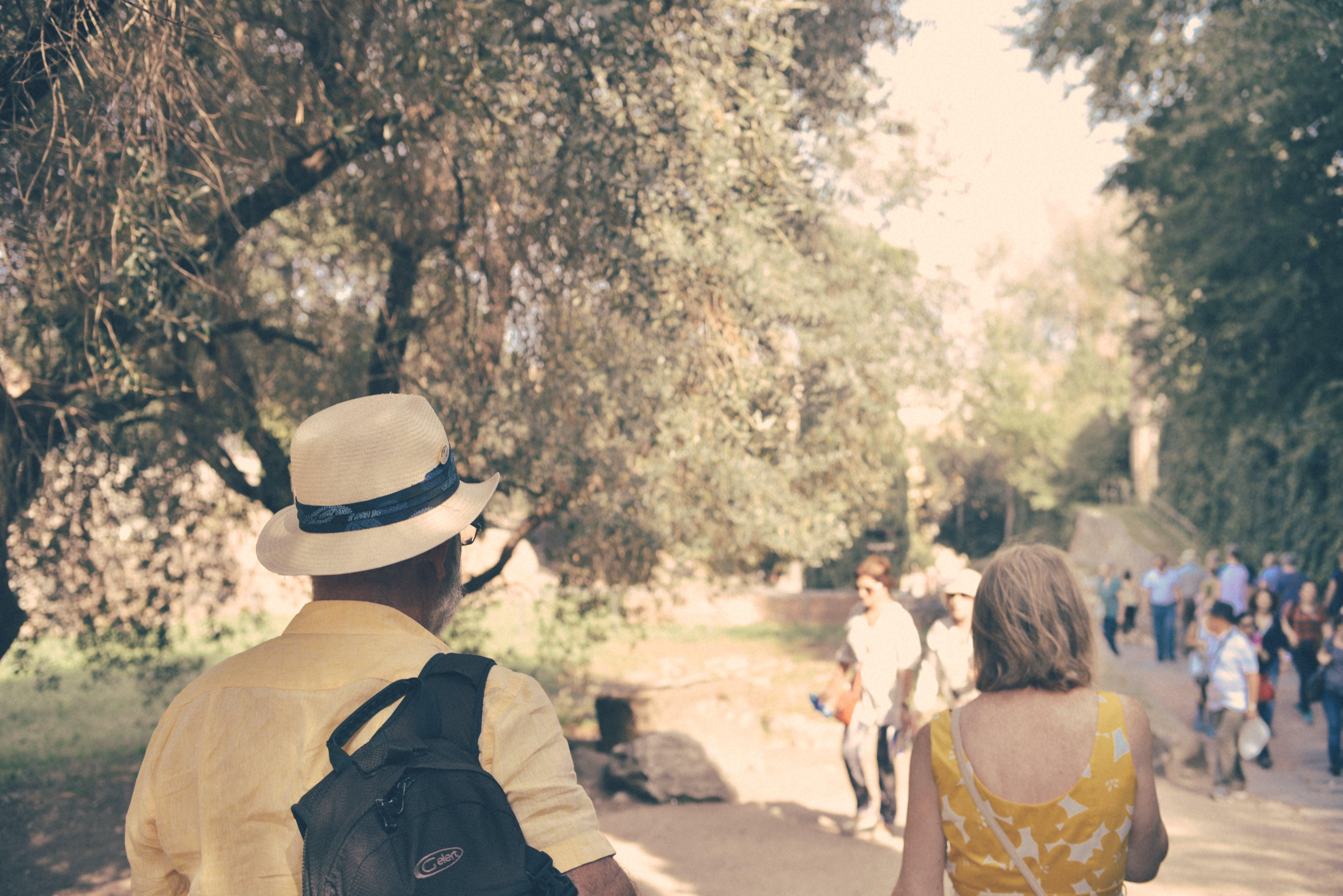 People Walking Around Park Near Trees