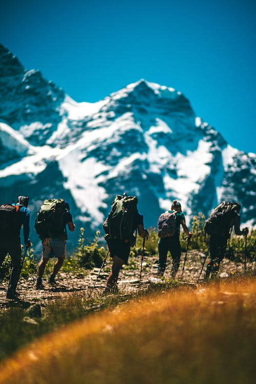 Group of People Hiking on Mountain