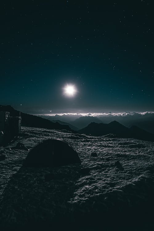 Snow Covered Mountains during Night Time