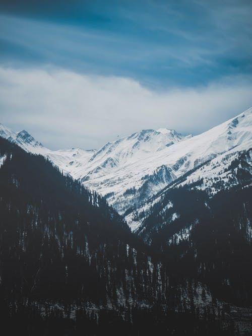 Picturesque view of high snowy mountain range with woodland in mountainous valley under blue cloudy sky