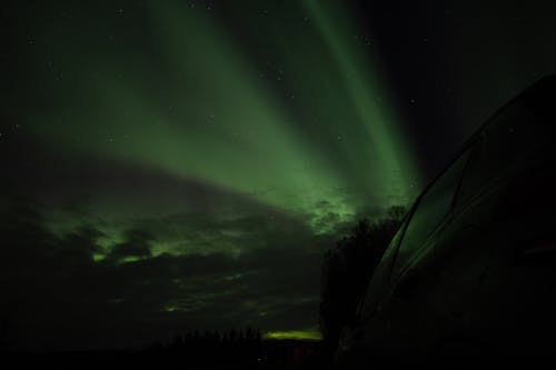 Green Aurora Lights during Night Time