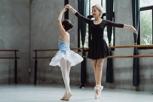 Asian ballerinas performing ballet dance in studio