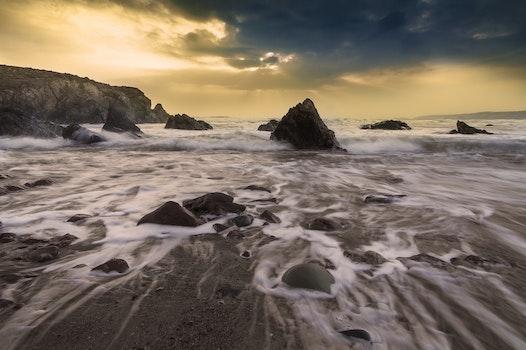 Free stock photo of sea, mountains, sky, sunset
