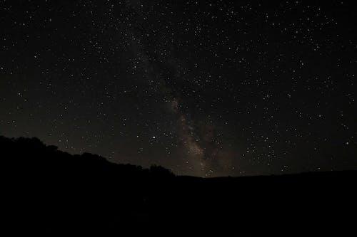 Night sky with glowing stars and Milky Way galaxy