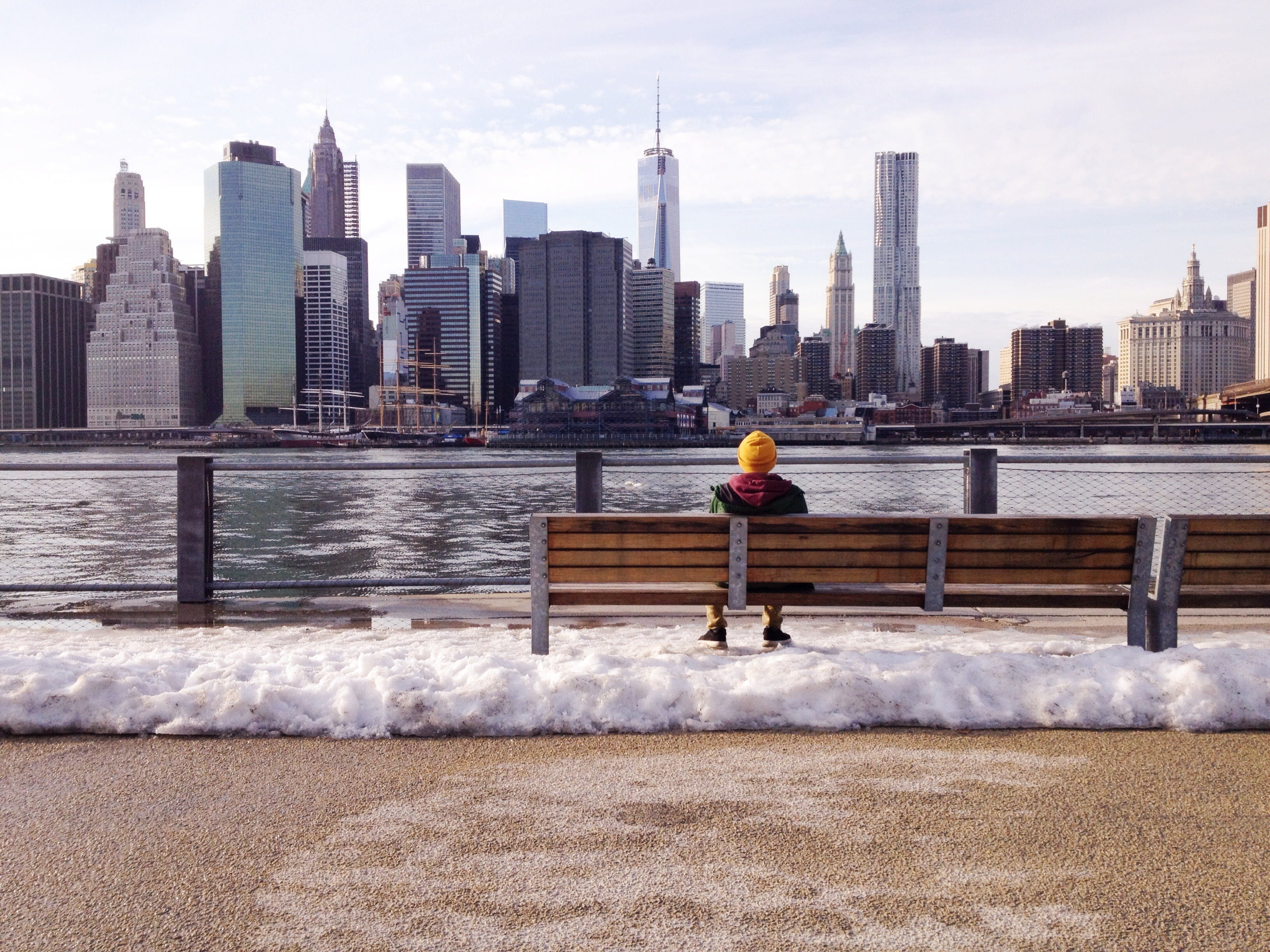 Free stock photo of cold, bench, city, man