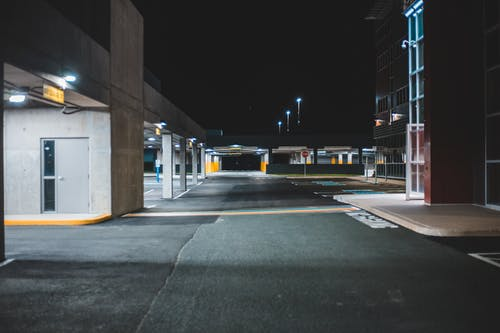 Illuminated empty parking lot with concrete walls
