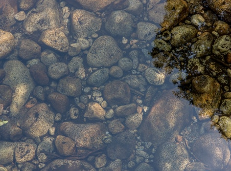 Brown and Black Rocks on Clear Body of Water during Daytime