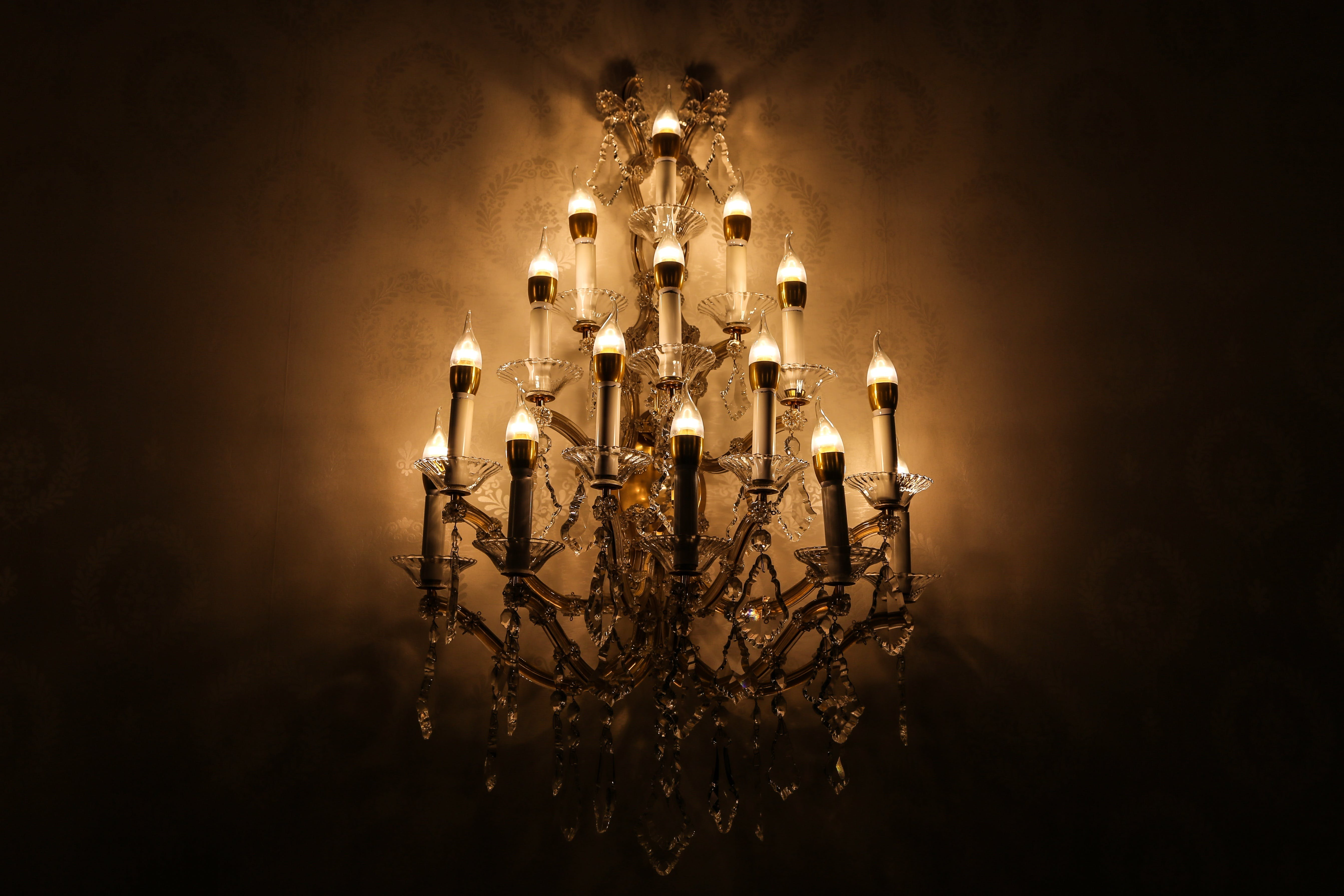Black Chandelier in a Dark Room